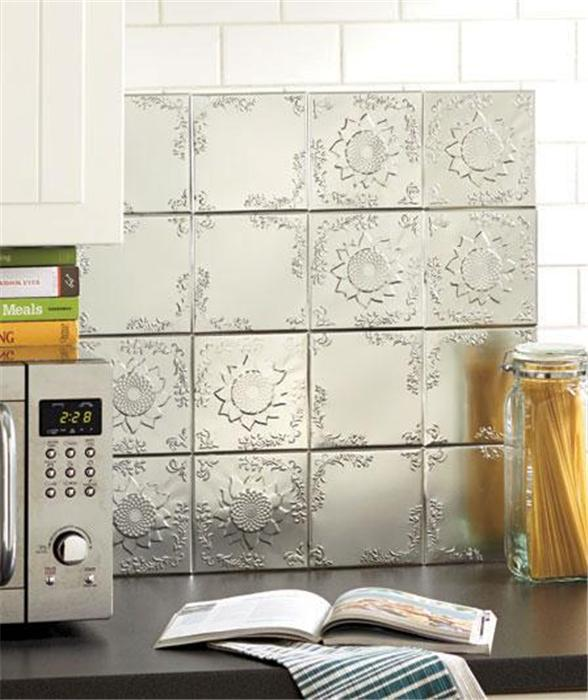 Self Adhesive Backsplashes Pictures Ideas From Hgtv: Set Of 16 Embossed Self Adhesive Silver Tin Kitchen Bath