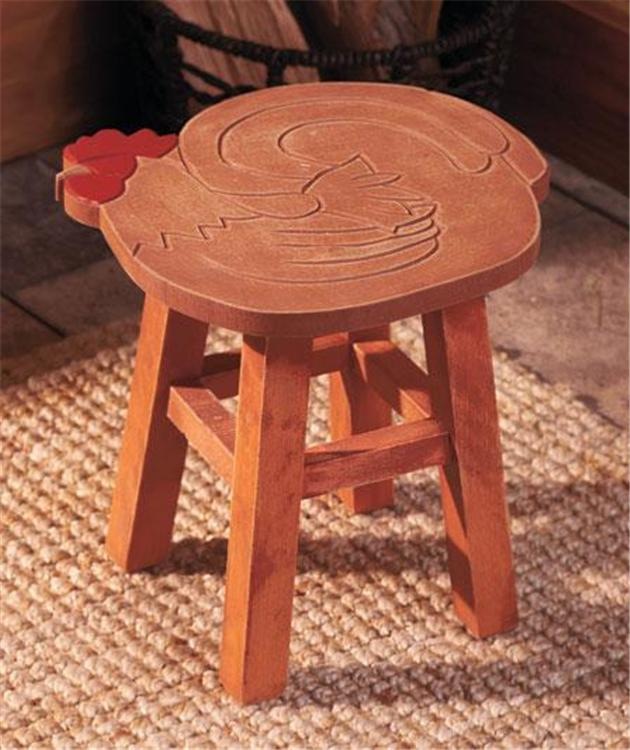 Decorative Hand Carved Country Style Wooden Foot Stool