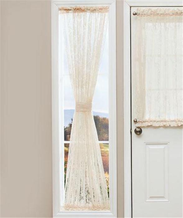 ELEGANT LACE DOOR WINDOW SIDELIGHT CURTAIN PANEL W/ROD