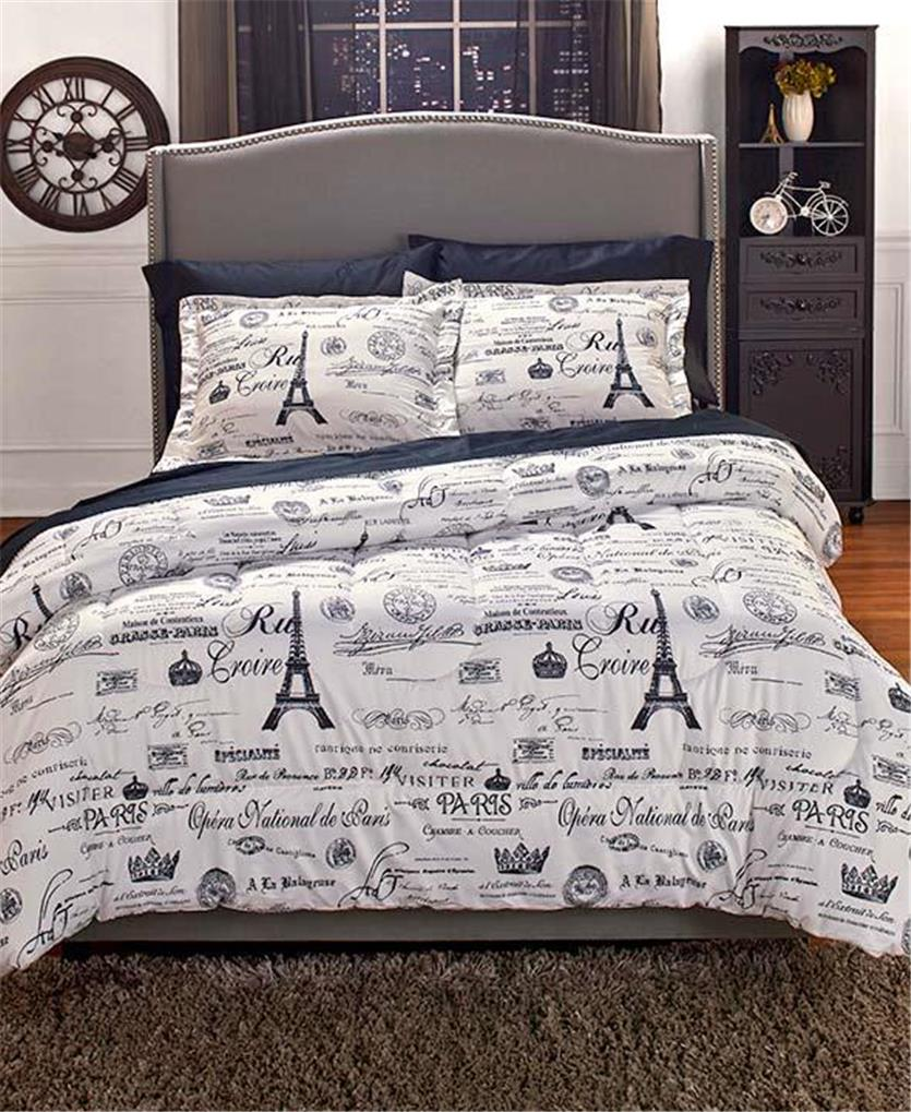 Vintage Paris Travel Themed European Charm Comforter Shams