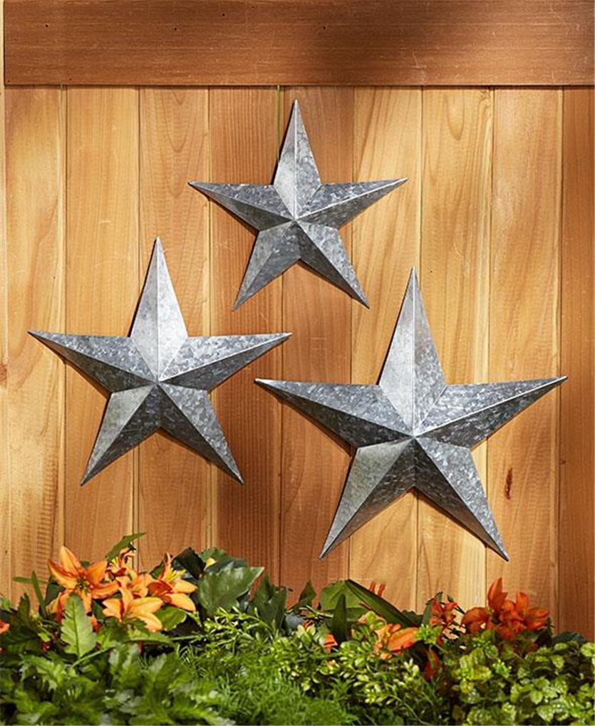 3 silver or copper finish rustic country inspired metal star wall hangings. Black Bedroom Furniture Sets. Home Design Ideas