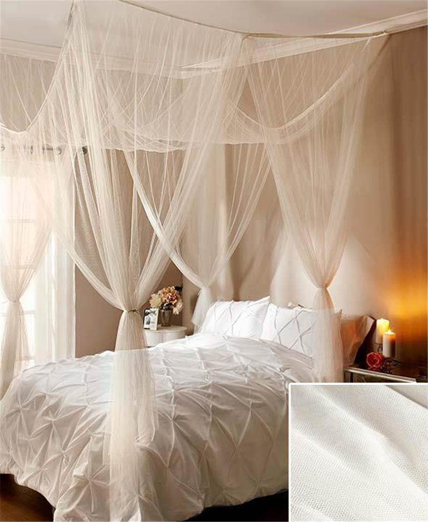 Elegant romantic sheer bed canopy fits all bed sizes - How to decorate a canopy bed ...