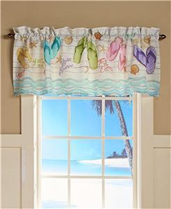 TROPICAL PARADISE FLIP FLOP BEACH THEMED BATHROOM WINDOW CURTAIN VALANCE DECOR