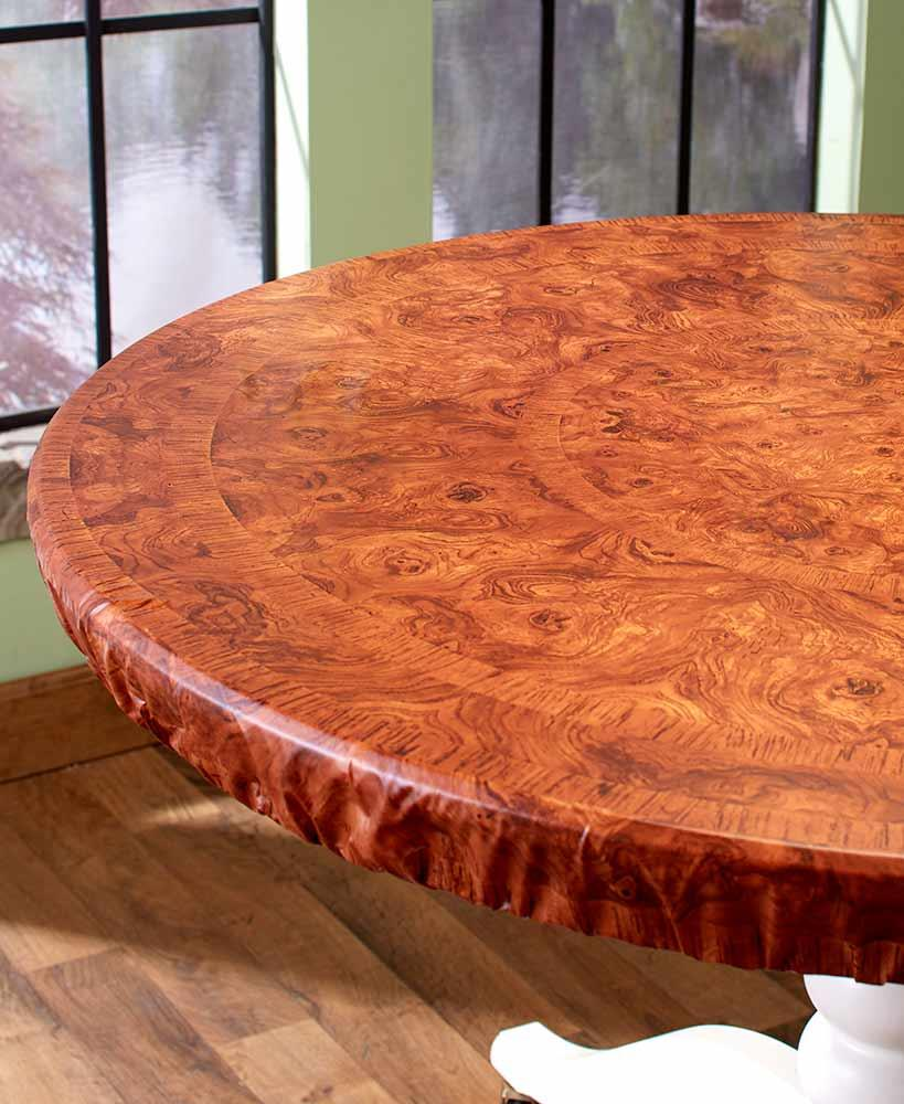 """CUSTOM FIT CHERRY WOOD LOOK TABLE COVER CONFORMS TO ANY SHAPE TABLE UP TO 48"""""""