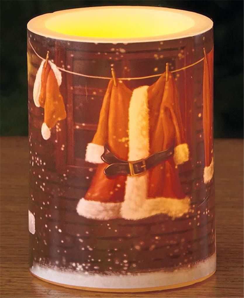 flameless led christmas scene real wax pillar candle - Led Christmas Candles