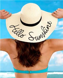 910b38879af EMBROIDERED SENTIMENT NATURAL STRAW FLOPPY BEACH SUN HAT 2 SAYINGS AVAILABLE