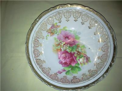 Decorative Arts Antique Pink Painted Flowered Bowl With Gold/ Marked