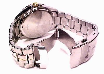 Bulova Marine Star Black Dial Bezel Steel Watch Women