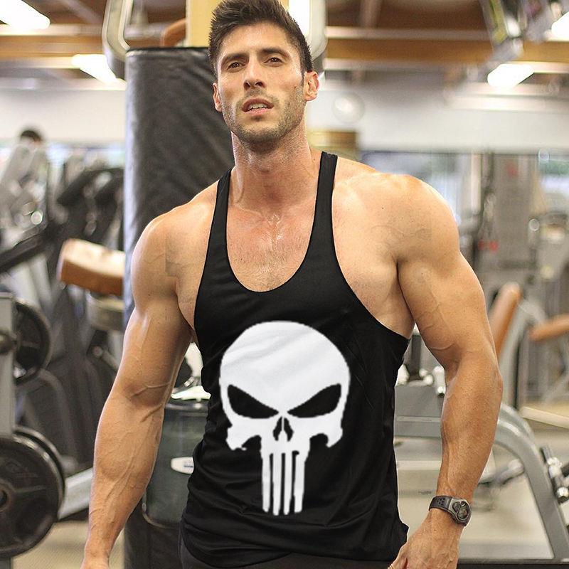 Gym punisher skull stringer vest mens muscle tops fitness for Fitness gym hombres
