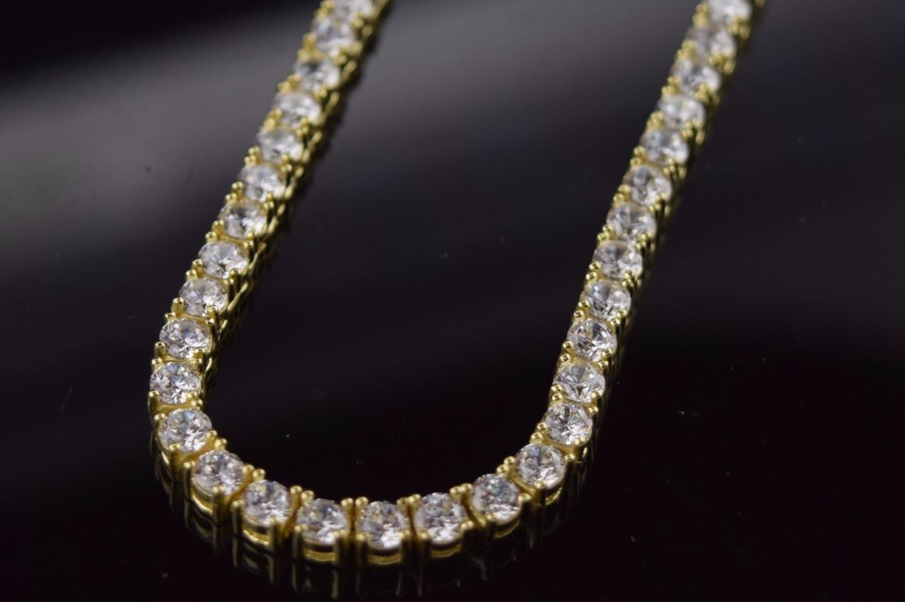 14k Yellow Gold Plated Hand Setting Stones Uzi Vert Tennis Choker Chain Necklace