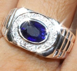 Men S 3 20 Cts Genuine Blue Sapphire Amp White Topaz Ring