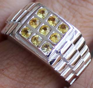 Men S Vintage Ring Genuine Yellow Sapphire 100 Solid