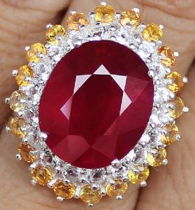 23 0 Cts Masterpiece Genuine Ruby Yellow Sapphire Amp W