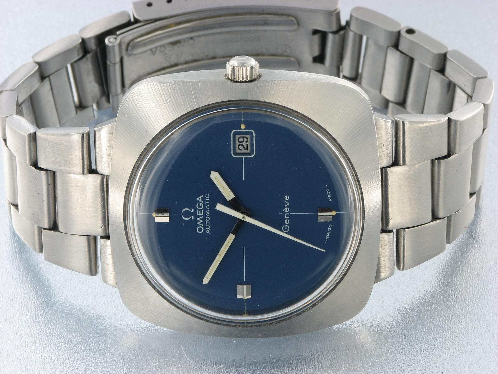 76743a67331 Omega Geneve Automatic Vintage Stainless Steel Watch Blue Dial