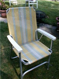 Vintage Multicolor Aluminum Fabric Folding Lawn Chair