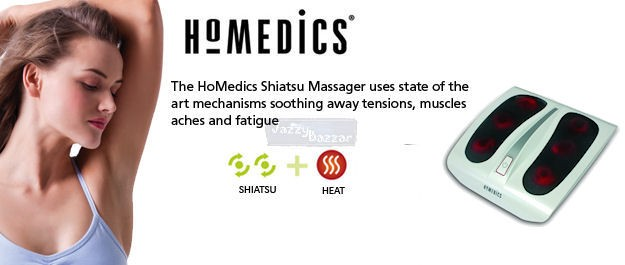 Homedics Shiatsu Foot Massager Deep Kneading Heat Massage Pain Stress