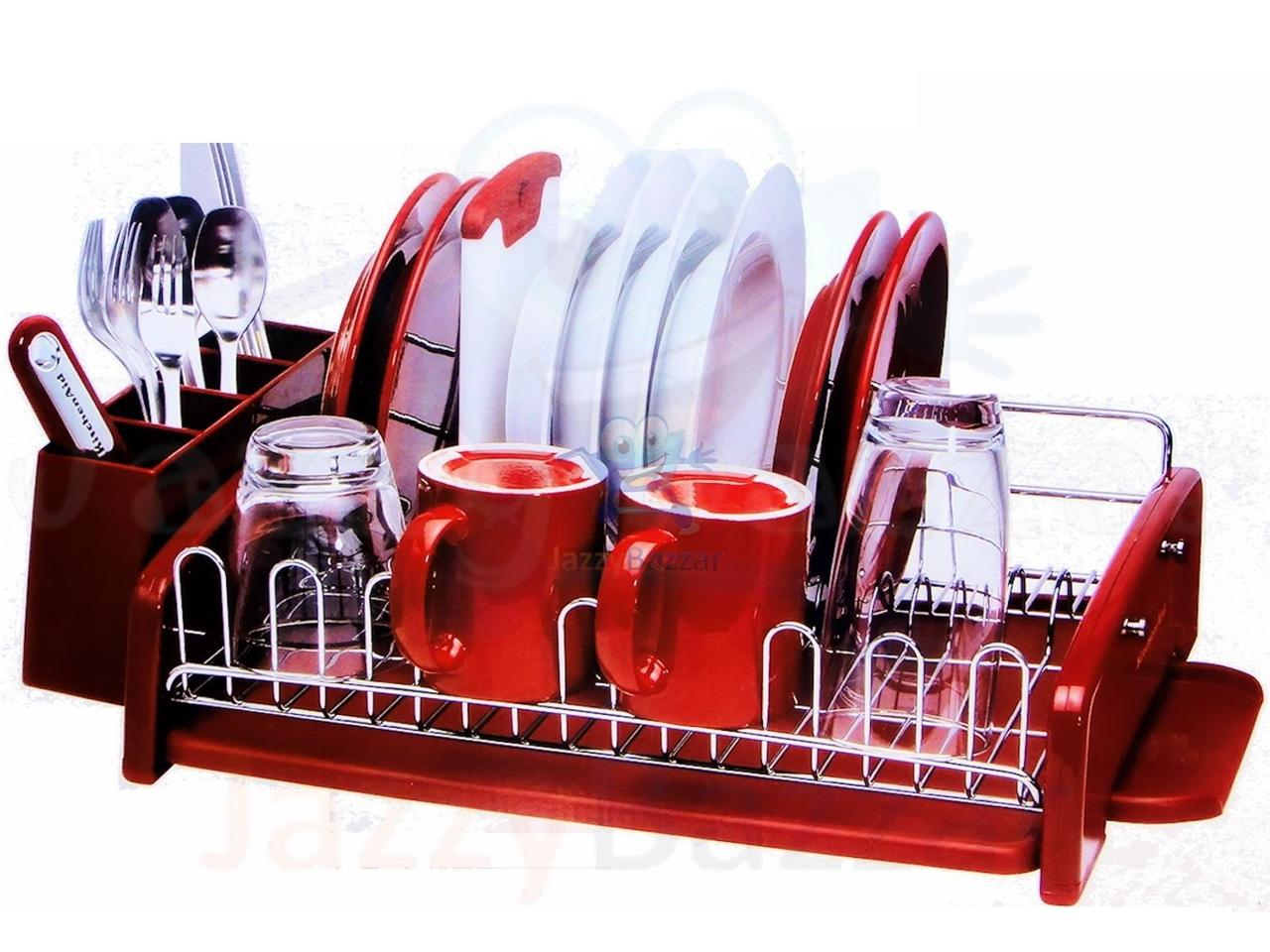 stainless steel kitchen bench dish plate drying rack drainer tray cup holder new ebay. Black Bedroom Furniture Sets. Home Design Ideas