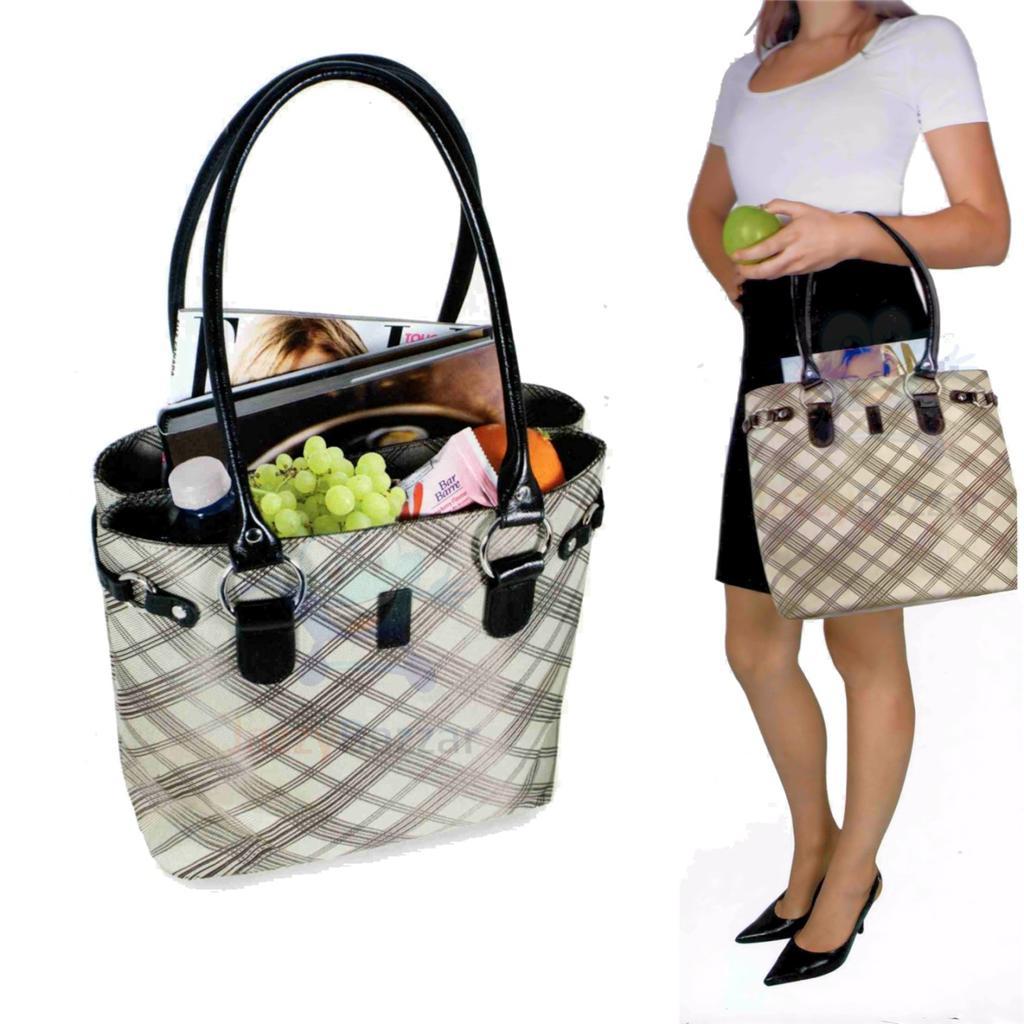 Ladies Plaid Design Insulated Lunch Carry Bag Tote Handbag