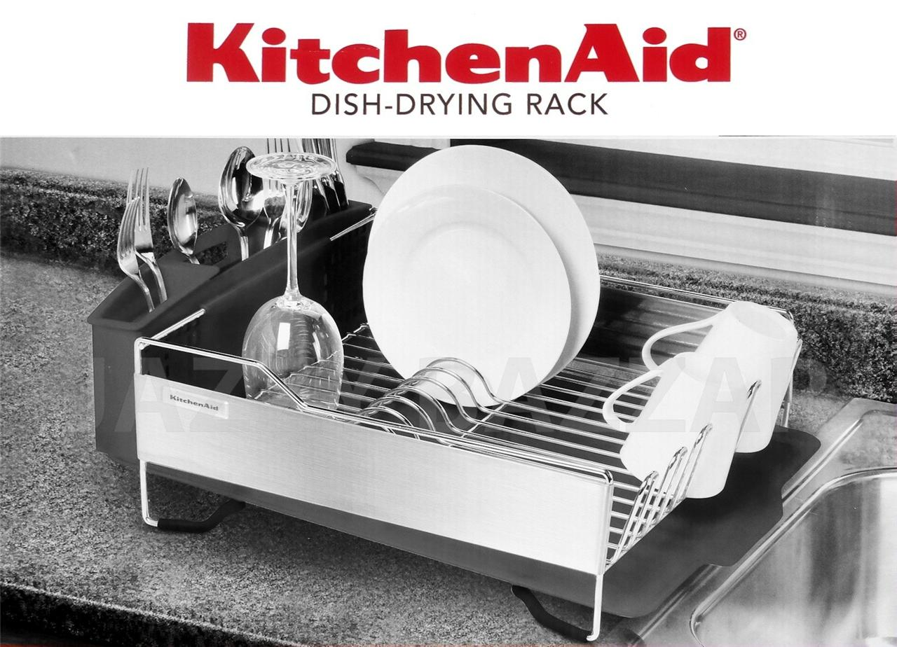 3pc Kitchen Aid Black Stainless Steel Dish Drying Rack