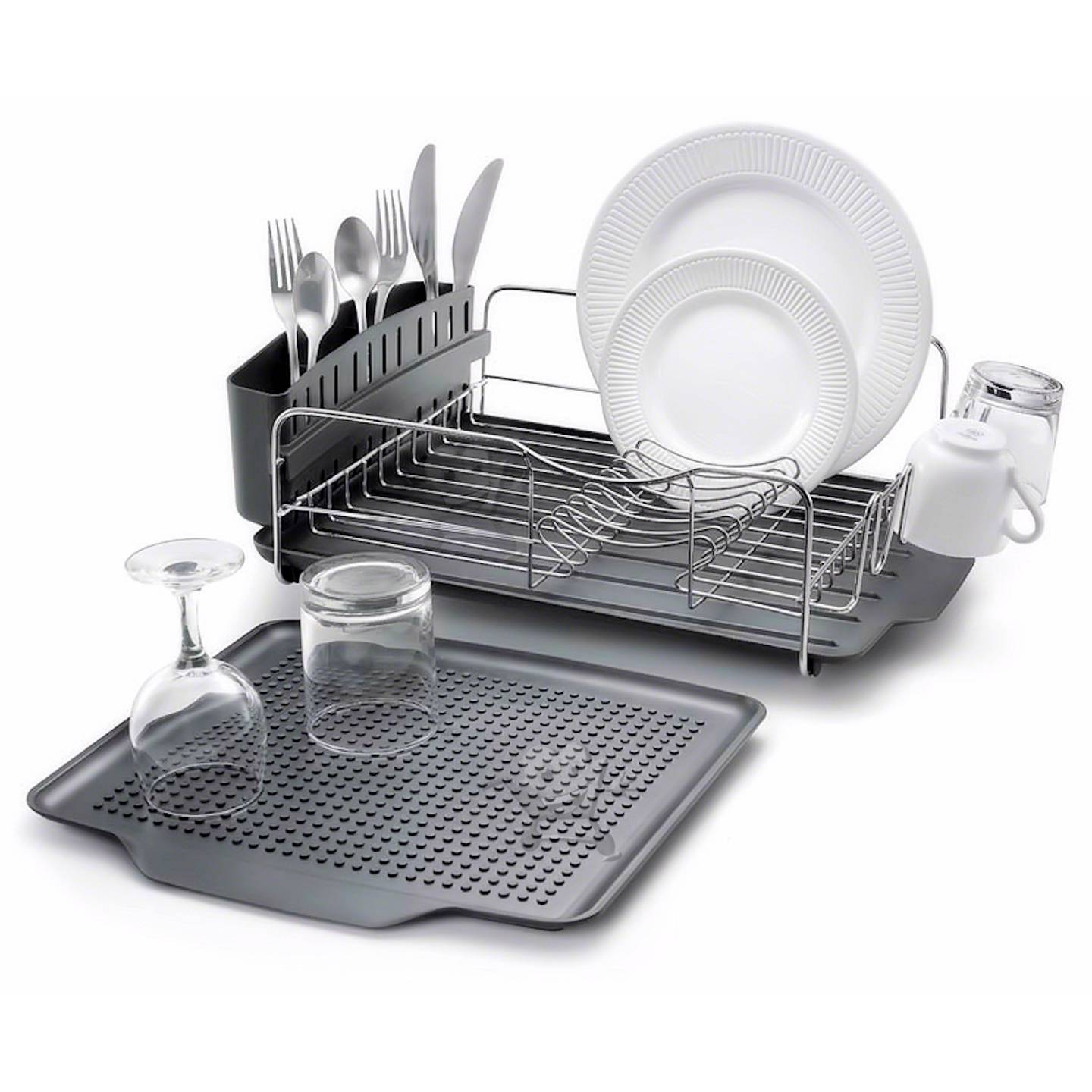 3pc kitchen aid black stainless steel dish drying rack cutlery drainer tray new ebay. Black Bedroom Furniture Sets. Home Design Ideas