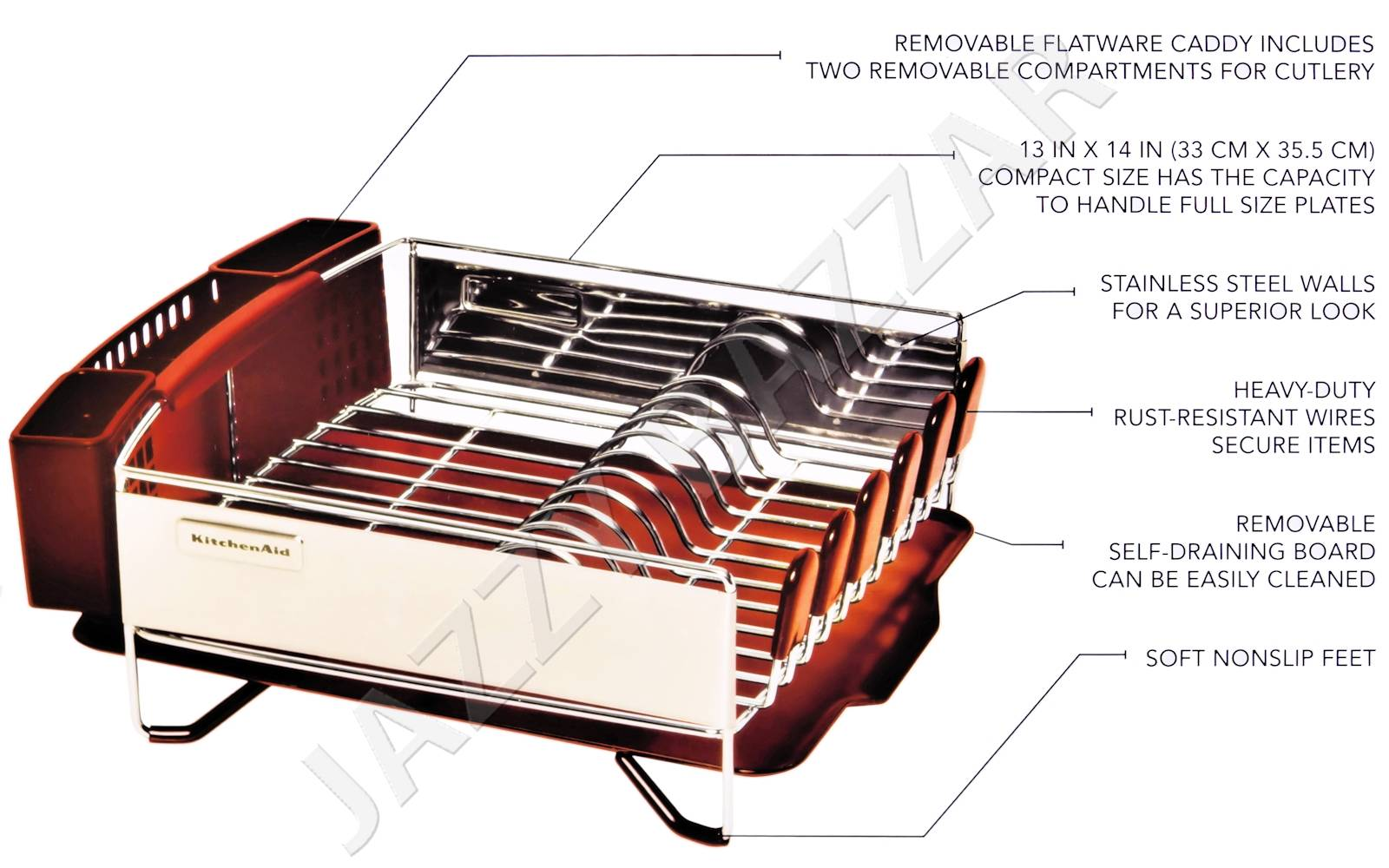 3pc kitchen aid red stainless steel dish drying rack cutlery drainer tray new ebay. Black Bedroom Furniture Sets. Home Design Ideas