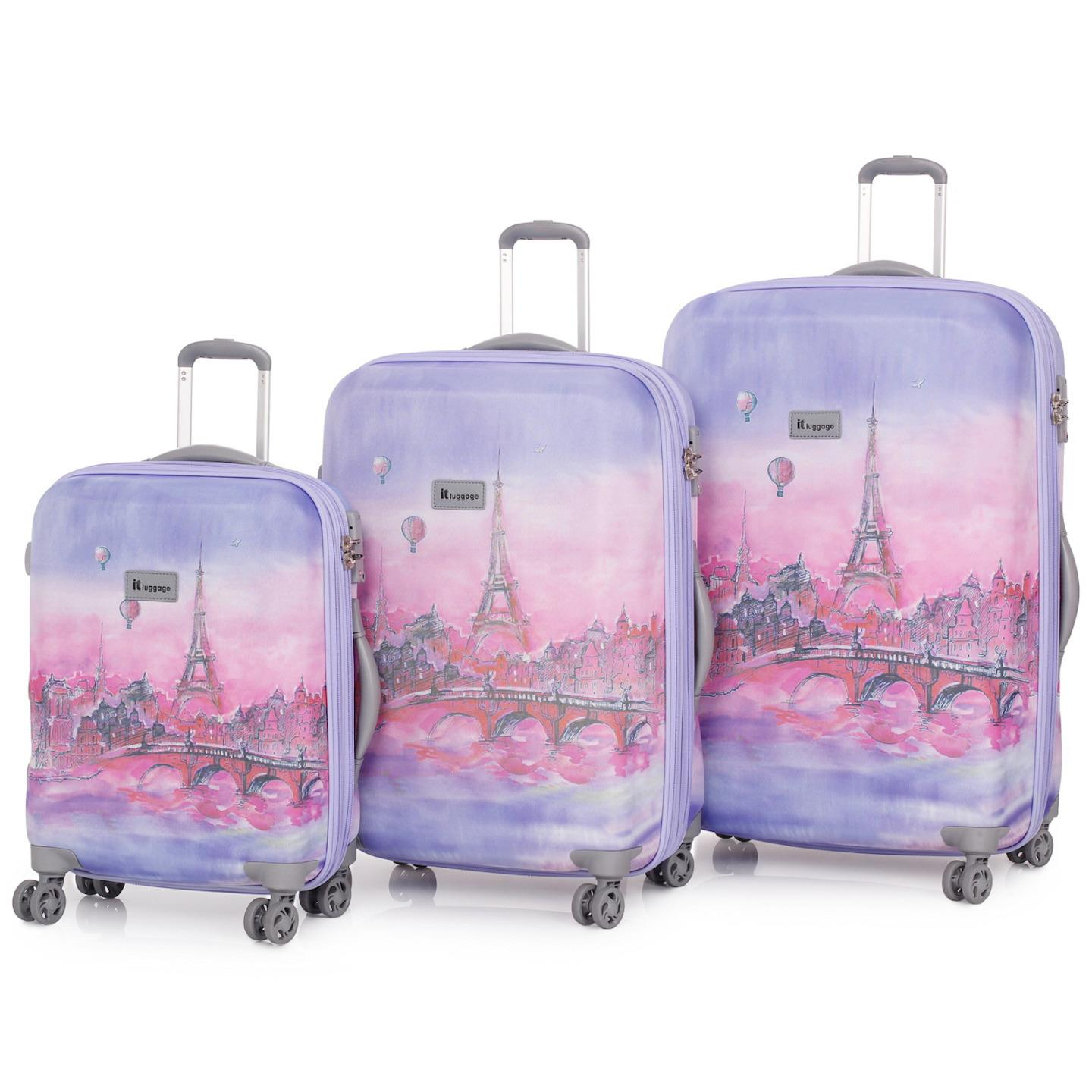 it luggage paris balloons 3 trolley suitcase set travel cabin bag lightweight ebay. Black Bedroom Furniture Sets. Home Design Ideas