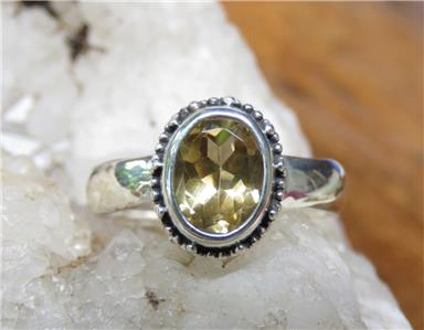 Sterling Silver Citrine 8x6mm Ovale Solitaire Collier
