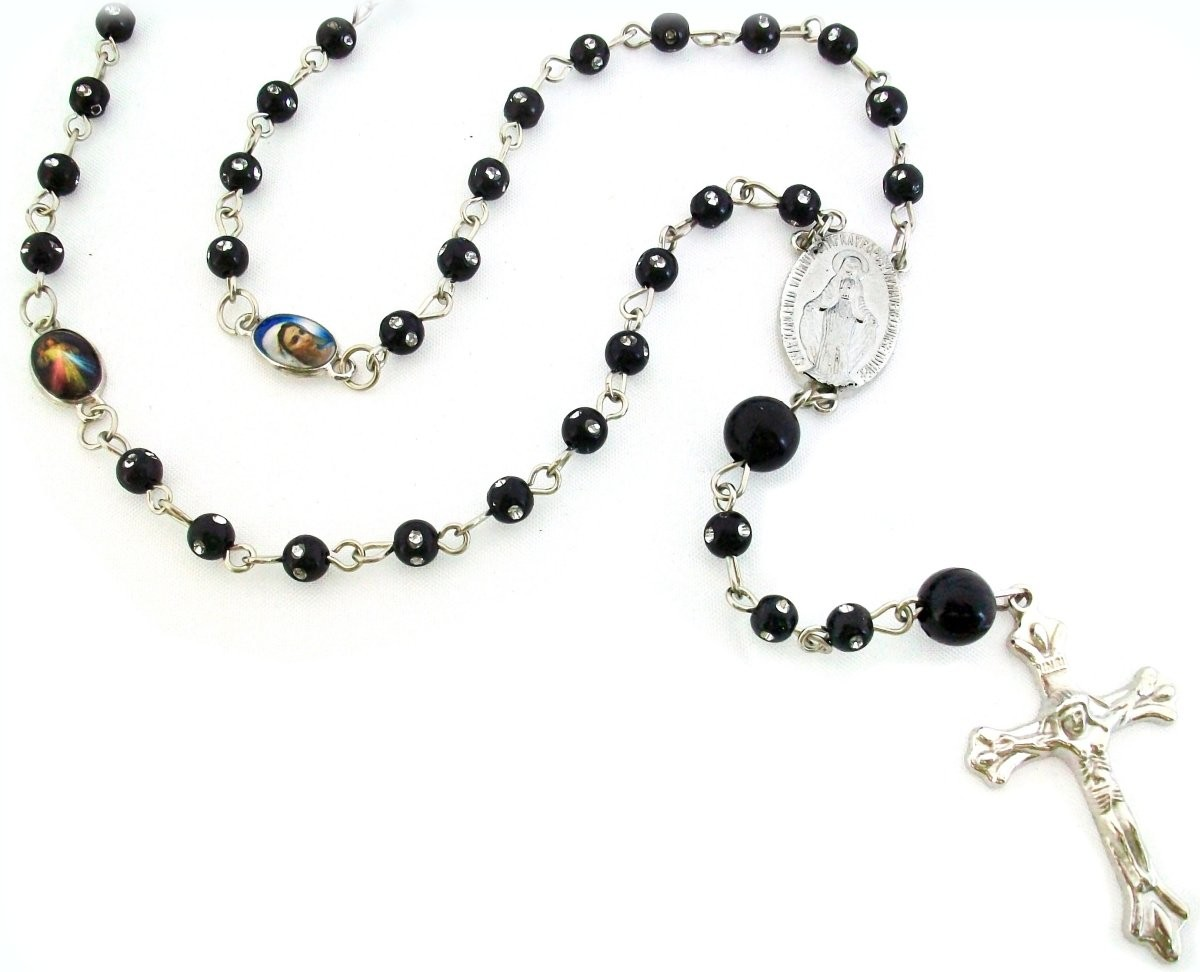 Miraculous Black Rosary Necklace Beaded Chain 26 Quot Long