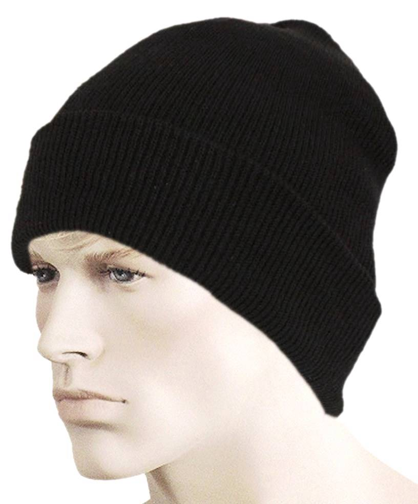 men 39 s black winter hat thinsulate double layered knit long. Black Bedroom Furniture Sets. Home Design Ideas