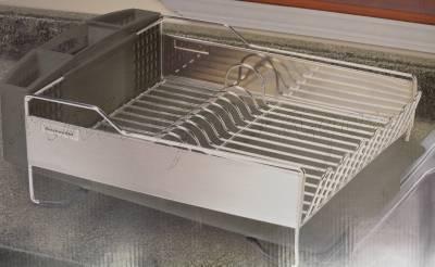 brand new kitchenaid dish drying rack 3 piece black dish drainer ebay. Black Bedroom Furniture Sets. Home Design Ideas
