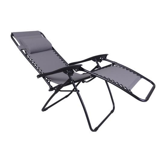 Gray Zero Gravity Chair Folding Recliner Patio Pool Lounge
