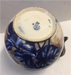 Superb Antique Doulton Burslem Pitcher Jug Blue Gold Flowers