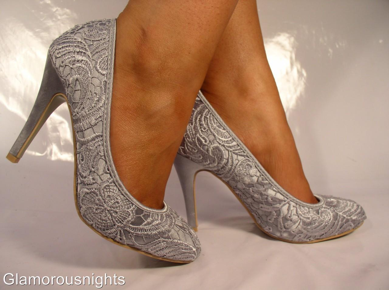 Silver Grey Satin Lace Covered Wedding Shoe Stiletto