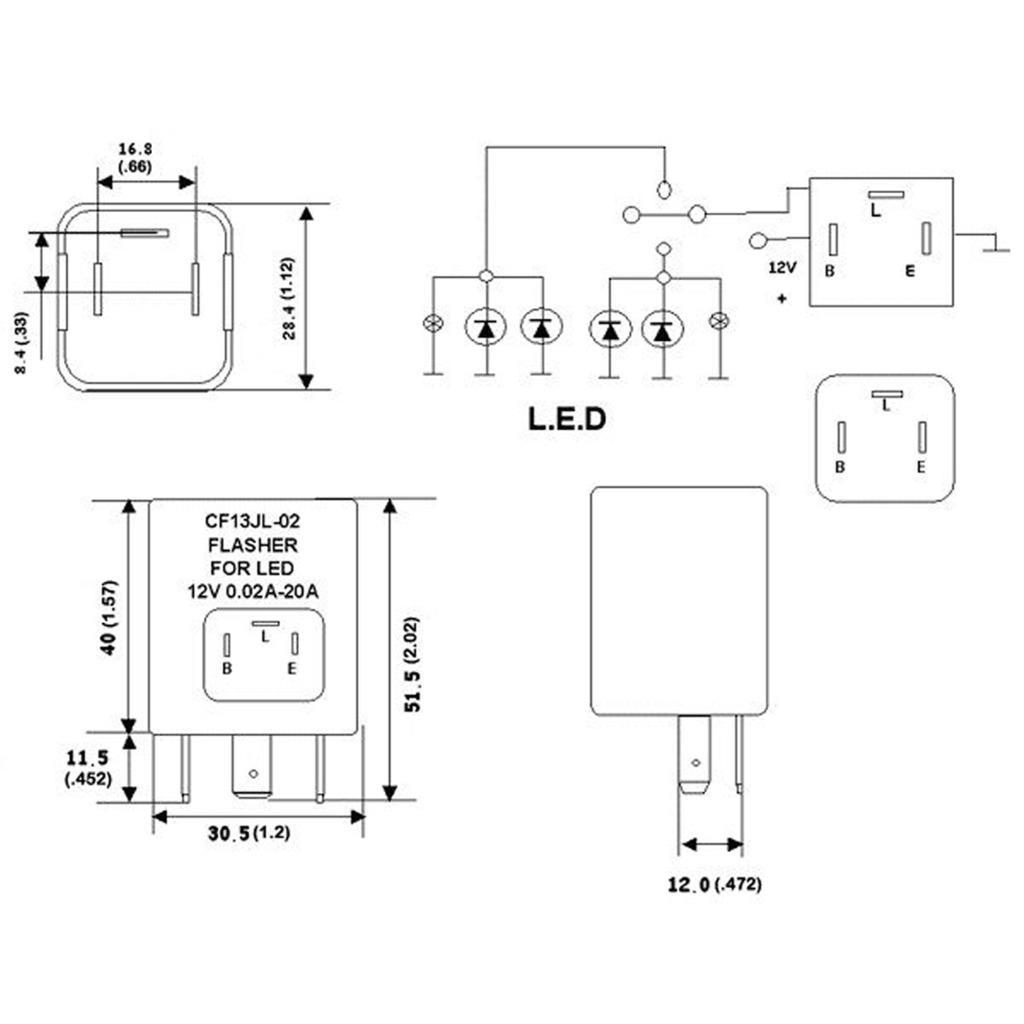 3 Pin Cf13 Cf14 Led Flasher Relay For Turn Signal Lights Hyper Wiring Diagram Blink Flash Fix