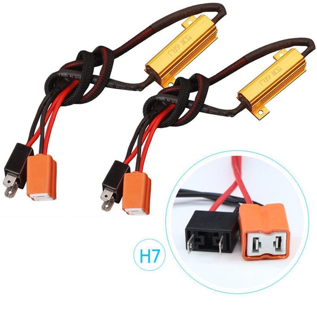 2x Canbus Error Free Decoder Wiring Kit H7 Led Bulb Fog Daytime Running Lights