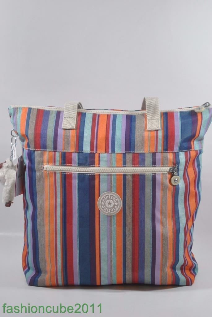 35a26a4037 New With Tag KIPLING Polley Print Shoulder Tote Bag - Robust Stripe 3 3 of  9 ...
