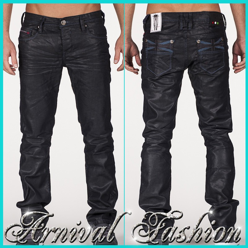 NEW shiny BLACK JEANS FOR MEN CASUAL WEAR MENS FASHION ...