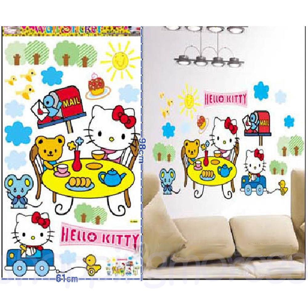 Hello Kitty Home Decor: Hello Kitty Tea With Friends Cute Wall Sticker Home Decor