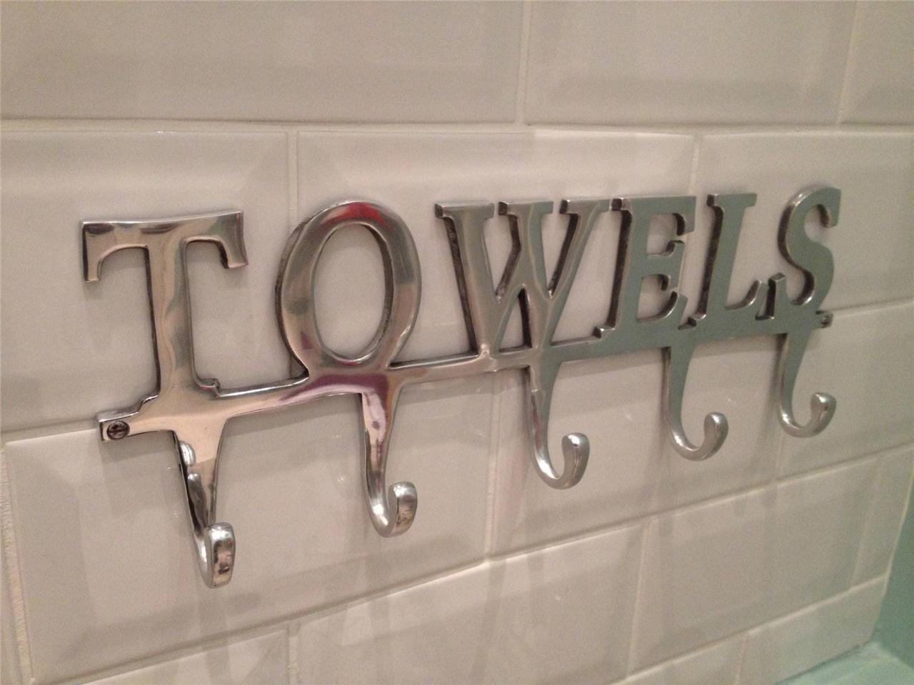 Large Towel Holder Rack Bath Hanger Hooks Wall Mounted Bathroom Aluminium Chrome Ebay