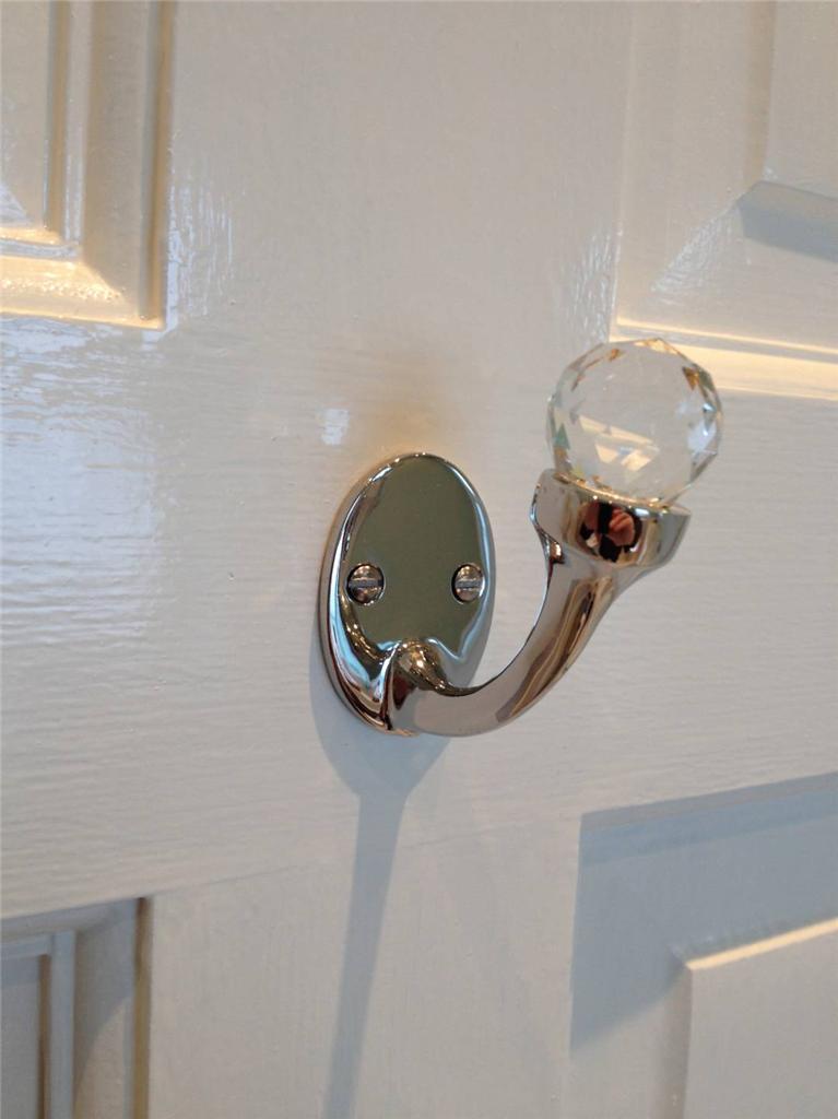 Stunning Nickel Brass Cut Glass Door Wall Single Hook