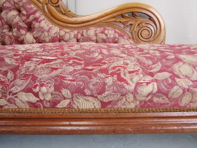 Antique Carved Cedar Button Back Chaise Lounge Sofa