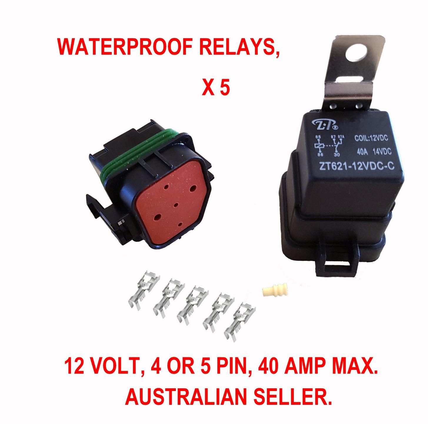 5 X Waterproof Relay 12 V Automotive 4 Pin 40 Amp Switch Volt 3 To For Multiple Relays And Save Also Available Are Blade Fuse Holders Click On The Bogbuster Logo Image Below Visit My Ebay Store
