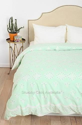 Queen Doona Quilt Cover Duvet Shabby Mint Green Cottage