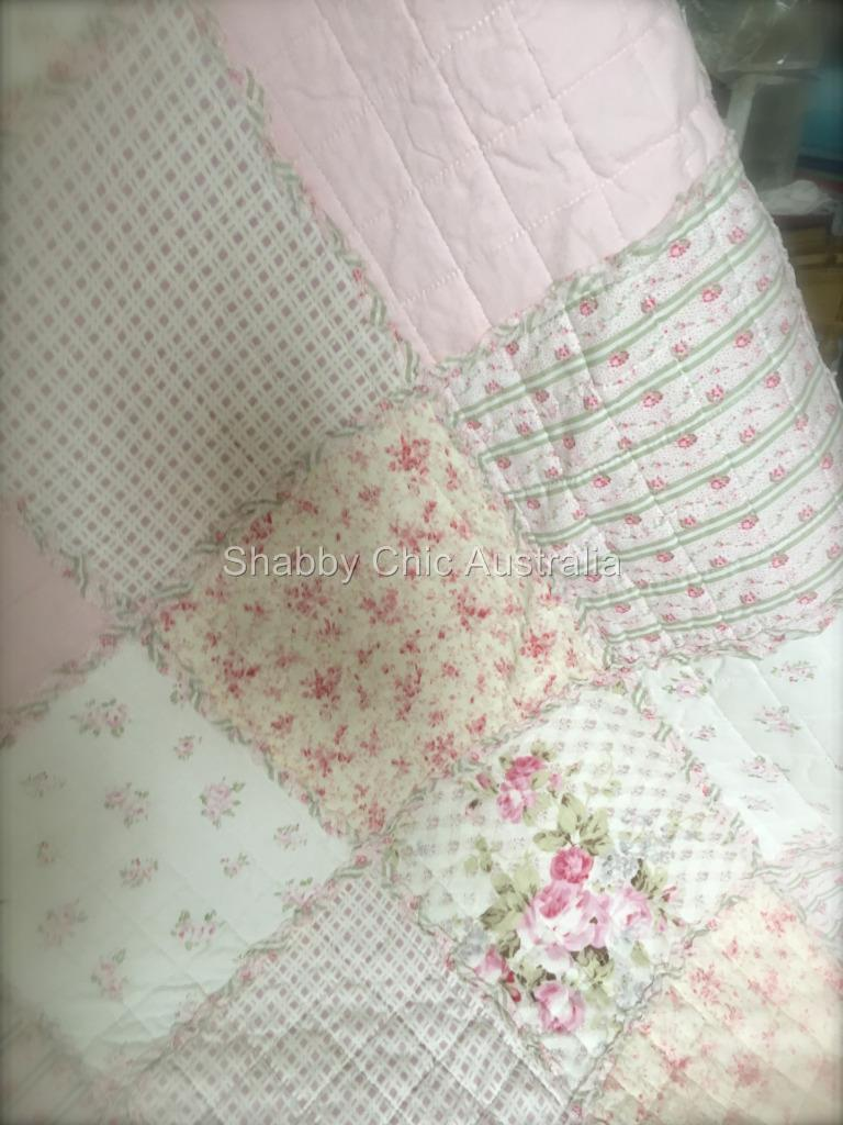 Double Queen Rag Bed Quilt Bedspread Set Shabby English