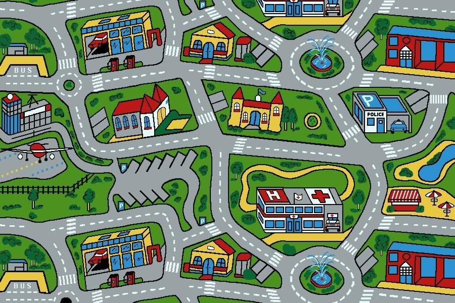 Kids Car Road Non Slip Play Mat Rug X Large