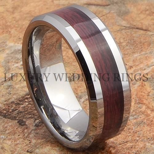 Wood Mens Wedding Bands: Tungsten Mens Ring Wood Wedding Band Bridal Jewelry