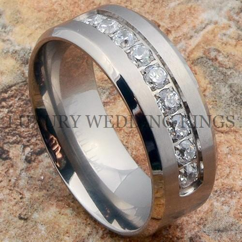 Titanium Ring Men S Wedding Band Diamonds Simulated