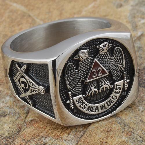 Mens Masonic Ring 32 Degree Scottish Rite Master Freemason