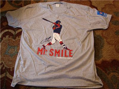 size 40 ffa62 0cb04 Details about Francisco Lindor Mr. Smile T-shirt XL SGA 5/12/18 NEW
