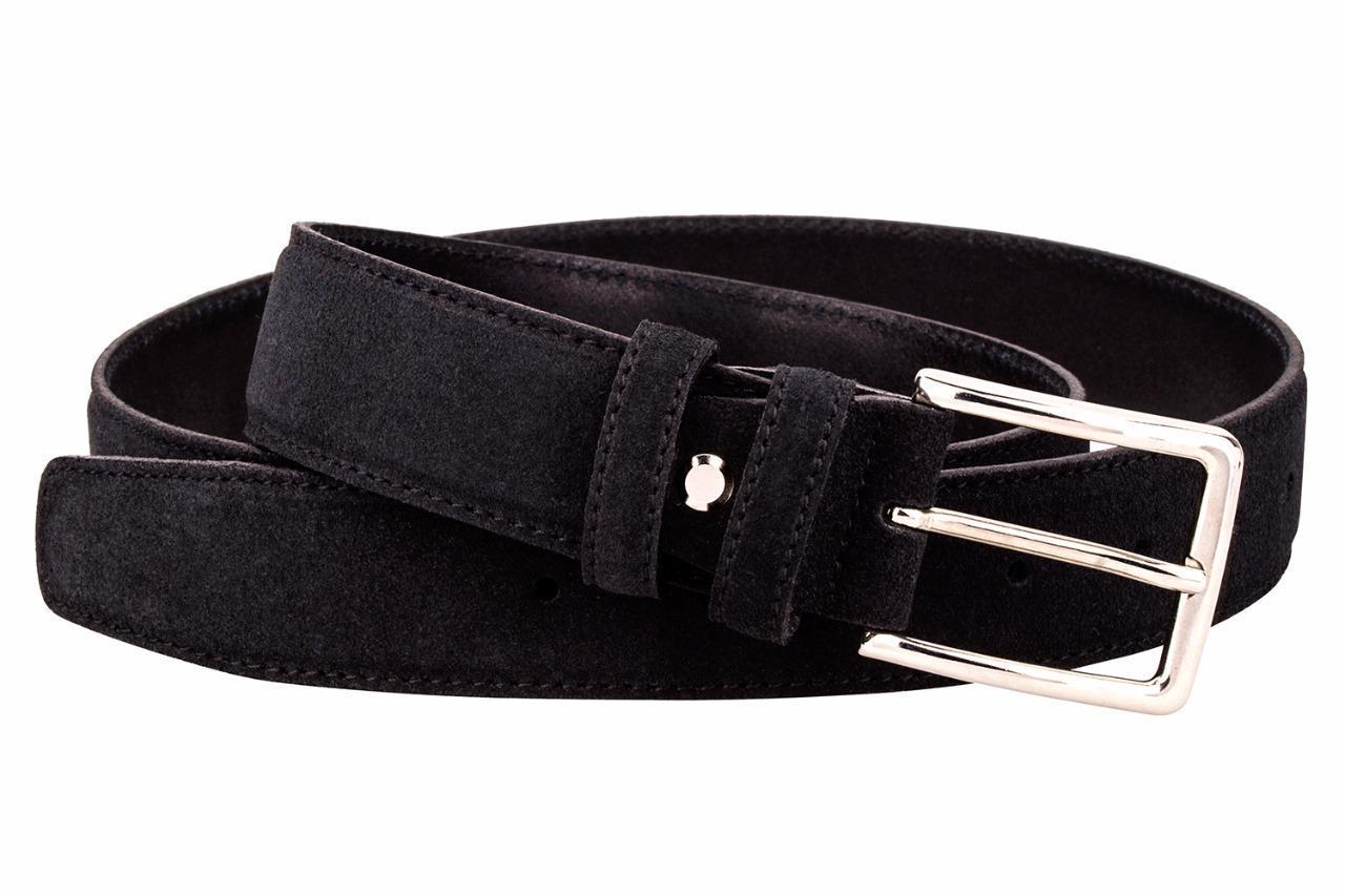 Italienischer Wildledergürtel Herren Damen Suede Belt Schwarz 4cm Breit